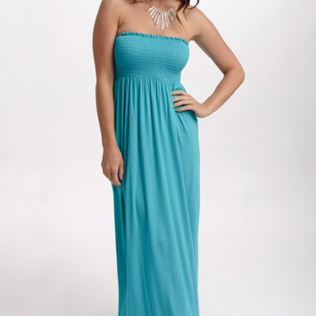 Jade Solid Strapless Maxi Dress