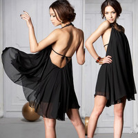 Backless Halter Black Dress