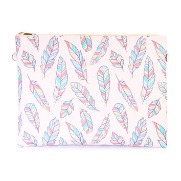 Feather Print Clutch Bag