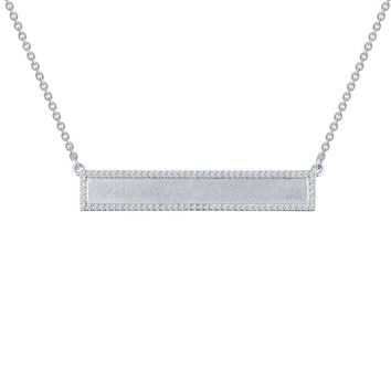 Lafonn Classic Sterling Silver Platinum Plated Lassire Simulated Diamond Necklace (0.42 CTTW)