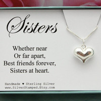 Sisters in Heart gift for Sister 925 Sterling Silver Necklace puffed heart necklace gift box Christmas gift from sister Best friends forever