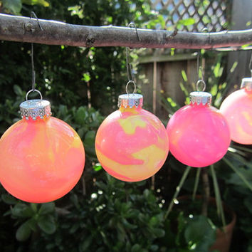 Pink and Yellow Glass Ornament, Hand painted glass, glow in the dark paint, OOAK Christmas Ornament with green glow pigment