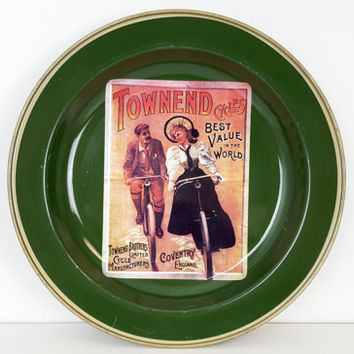 Vintage Bicycle Advertisement Townend Tin Plate by Nevco, Vintage Bicycle Ad, Townend Cycles, Nevco South Africa, Green Plate, Green Dish