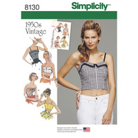 Simplicity Pattern 8130 Misses' 1950s Vintage Tops and Cropped Tops