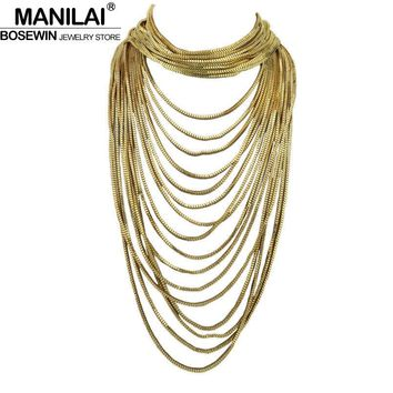 MANILAI Boho Style Multi Layers Chain Choker Statement Necklace Women Long Chain Maxi Collar Vintage Jewelry Bijoux Femme CE4287