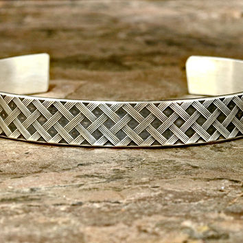 Woven Sterling Silver Cuff Bracelet with Cross Weave Pattern