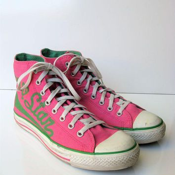DCKL9 Converse Pink & Green All Star Canvas High Tops 10M /12W