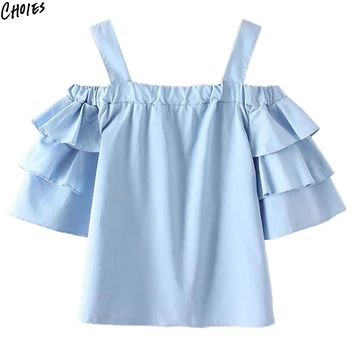 Blue Off the Shoulder Ruffles Layered Casual Blouse Women Half Sleeve Spaghetti Strap Half Sleeve New Top Clothing