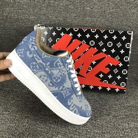 Nike Air Force 1 AF1 x Supreme x Louis Vuitton LV Denim Women Shoes 923089-100 - Best Deal Online