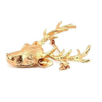 1PC Vintage Classics Fashion Gold Tone Metal Reindeer Lapel Pin Brooch