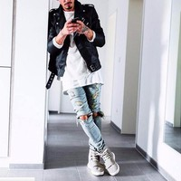 Ripped Jeans For Men Male Skinny Distressed Slim Famous Brand Designer Biker Hip Hop Black