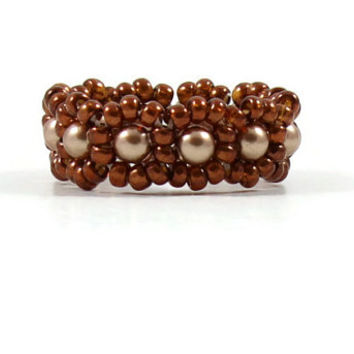 Bronze Pearl Ring Brown Bead Ring Beadwork Jewelry