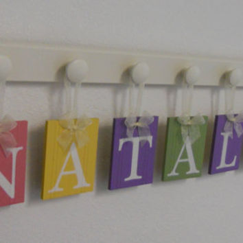 Baby Girl Nursery Decor - Custom for NATALIE - Personalized Name and 7 Wooden Wall Hooks PINK, YELLOW, PURPLE & GREEN