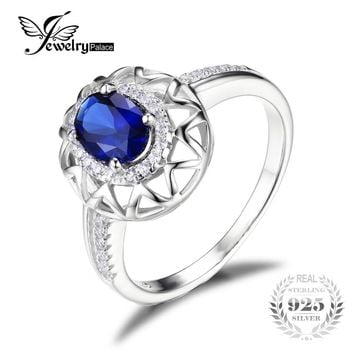 JewelryPalace Unique Design 1.2ct Created Blue Sapphire Ring 925 Sterling Silver Fine Jewelry for Women Statement Jewelry