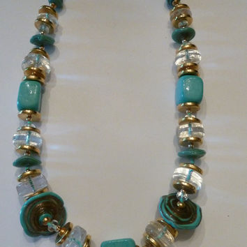 Vintage turquoise glass beaded necklace tiffany blue and gold ceramic beads clear glass beads 1960s costume jewelry Spring Summer