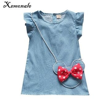 Xemonale New summer Denim Baby Girls Dress Bow Infant Princess Dress Casual Kids Jeans Dress Baby Girl Clothes