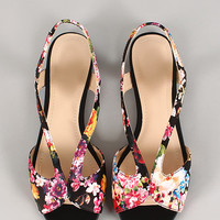 Floral Strappy Open Toe Slingback Flat Sandal