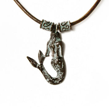 Mermaid Patina Necklace, Copper Green Patina Pendant, Anitqued Pendant Leather Necklace