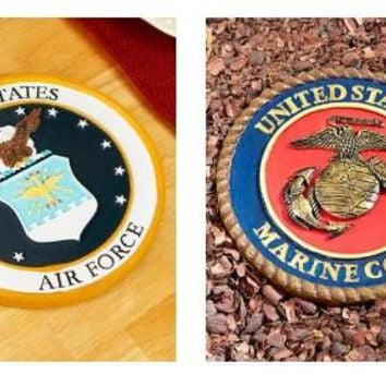 Military Plaque Garden Stone Memorial Trivet Army Navy Air Force Marines