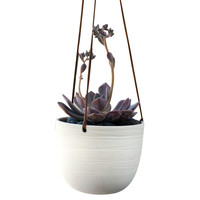 "6"" Scribble Hanging Planter, White, Outdoor Urns, Planters & Jardinieres"