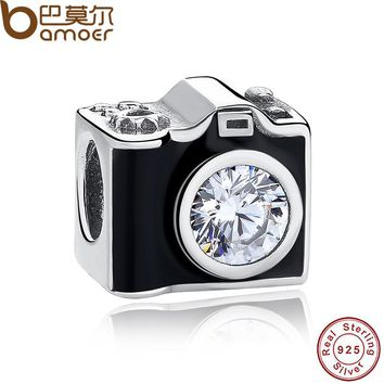 Original 925 Sterling Silver Sentimental Snapshots Camera Charm Fit Bracelet & Necklace Black Enamel DIY Jewelry PAS182