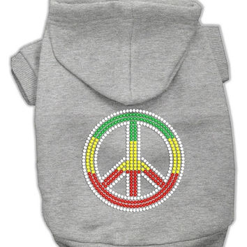 Rasta Peace Sign Hoodie Grey XXL (18)
