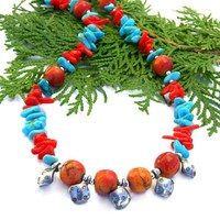 Thai Silver Diamonds, Turquoise and Red Coral Necklace, Southwest Boho Handmade Jewelry