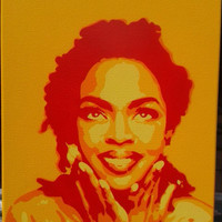 Lauryn Hill painting,stencil art,spray paints,hip hop,music,New York,soul,Fugees,rap,canvas art,pop art,icons,street art,abstract graffiti