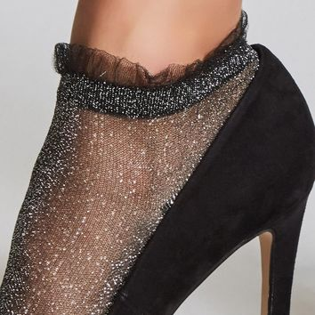 Sheer Metallic Crew Socks