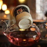 Lace Gold Plated Bone China Teapot Set with Filter and Warmer