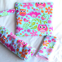 Minky Blanket, Minky Burp Cloth, Reusable Wet Bag set, Owls Pink