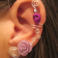 Non Pierced Ear Cartilage Cuff - Skull & Rose Halloween, Dia de los Muertos Color Choices