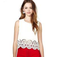 White Eyelet Cutout Detail  Scalloped Hem Tank Top
