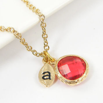 Personalized Deep Coral Drop Necklace Coral Pendant Coral Gold Teardrop Initial Letter Necklace Bridesmaid Jewelry Dainty Necklace