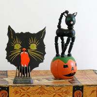 Black Halloween Cat Vintage Sticker Gummed Seal