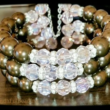 Brown and Pink Swarovski Pearl and Crystal 3 Loose Strand Beaded Memory Wire Bracelet size 7.5 to 8.5 inches