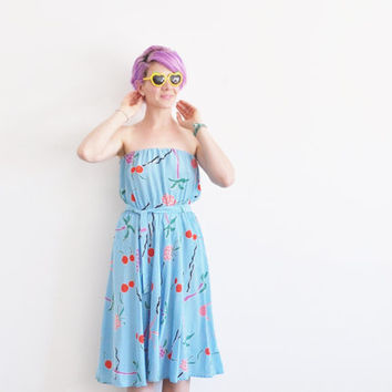 strapless FRUIT dress . cherry pineapple grape . plus the BEACH .medium.large