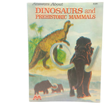 Answers About Dinosaurs & Prehistoric Mammals, Vintage Book, Science, Nature, History, Paper Ephemera, Illustration, Scrapbooking, Collages