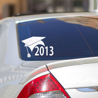 Class of 2013 Graduation gift wall decal sticker, car window decals, gift for grad, graduation cap and tassle