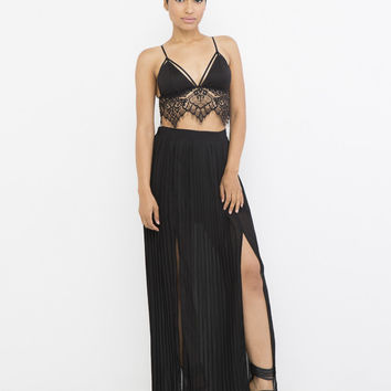 ETERNAL FLAME PLEATED MAXI SKIRT - BLACK