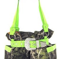 Green Belted Rhinestone Western Buckle Soft Camo Purse Camouflage Cowgirl Bag