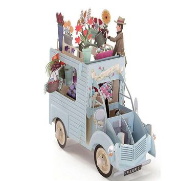 3D Pop Up Greeting Cards Car with Flowers Handmade Happy Birthday Valentine Easter Thank You Wedding Invitation