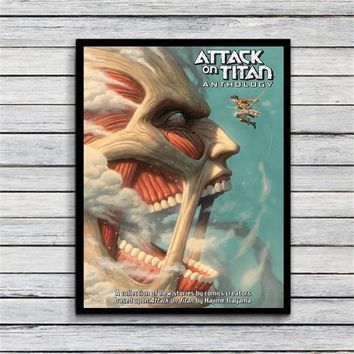 ATTACK ON TITAN FACE Art Silk Fabric Poster Prints Home Wall Decor Painting