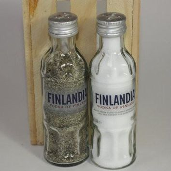 Salt & Pepper Shakers Upcycled from Finlandia Vodka Glass Minni Bottles