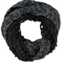 D&Y Black Cheetah Print Mix Knit Infinity Scarf