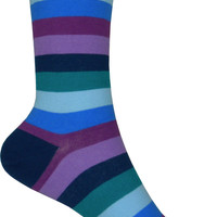 Stripe Crew Socks in Navy