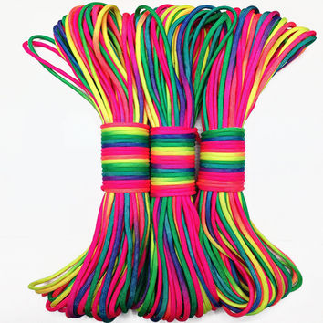 Colorful 100 FT Paracord 550 Paracord Parachute Cord Lanyard Rope Mil Spec Type III 7 Strand edc