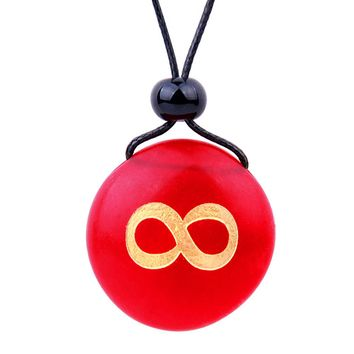 Amulet Frosted Sea Glass Stone Infinity Eternity Energy Good Luck Powers Royal Red Adjustable Necklace