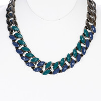 NECKLACE / FACETED LUCITE BEAD / LINK / METALCHAIN / 3/4 INCH DROP / 18 INCH LONG / NICKEL AND LEAD COMPLIANT
