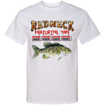 REDNECK MEASURING TAPE Screen Printed T Shirt Bass Fishing Funny Screenprint Tee...Free Shipping!!